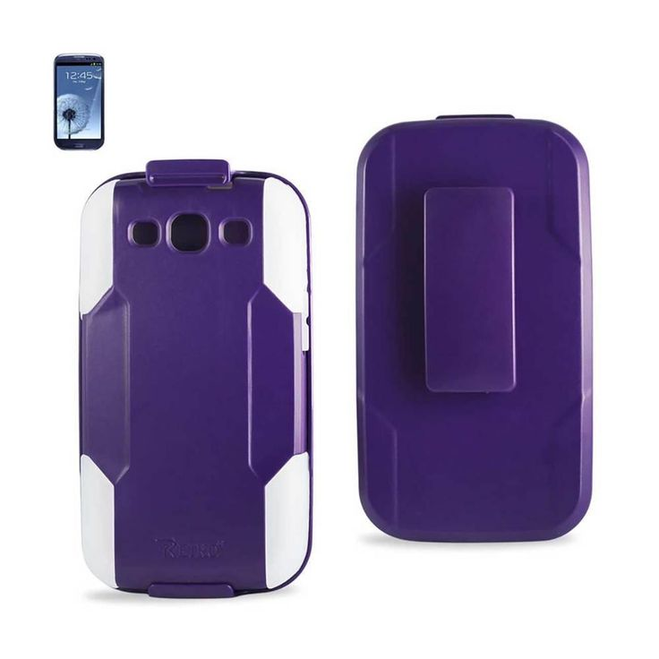 Reiko REIKO SAMSUNG GALAXY S3 HYBRID HEAVY DUTY HOLSTER COMBO CASE IN PURPLE CLEAR