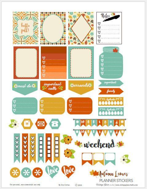 Hojas-Planner-Stickers Otoño    Libre para imprimir, vista previa.