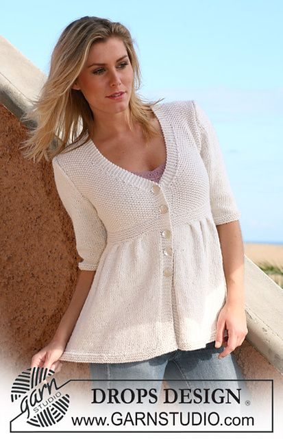 "Ravelry: 105-1 Jacket with pleats and ¾ sleeves or long sleeves in ""Silke-Alpaca"" pattern by DROPS design"