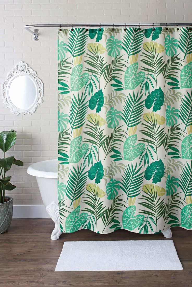 Chevron bathroom sets with shower curtain and rugs - Better Homes And Gardens Tropical Palm Fabric 13 Piece Shower Curtain Set