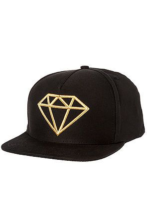 Diamond Supply Co. Hat Rock Logo Snapback in Black and Gold Black - Karmaloop.com use rep code: OLIVE for 20% off!