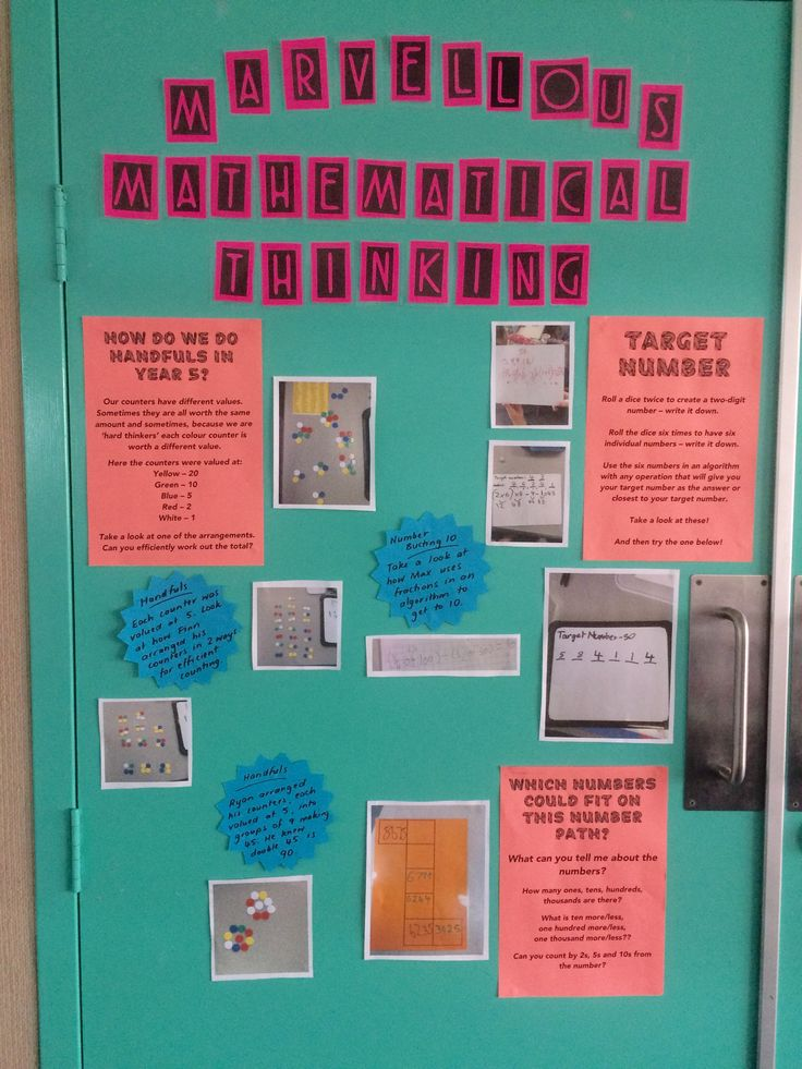 My 'Marvellous Mathematical Thinking' wall displaying photos of work and clever strategies used when solving maths problems