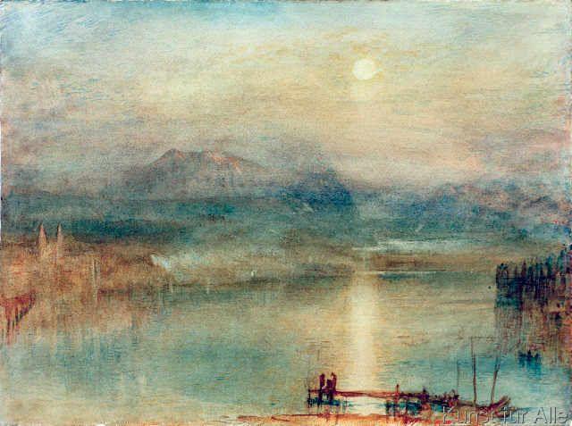 Joseph Mallord William Turner - Mondschein über dem Vierwaldstätter See vor der Kulisse des Rigi
