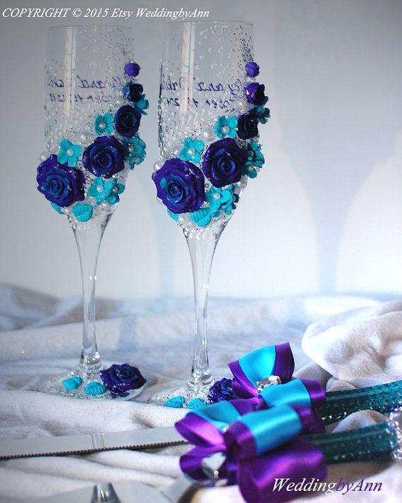 Púrpura boda copas boda flautas de champán novia y por WeddingbyAnn
