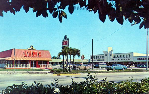 Another part of my childhood - Old postcard from Florida State Archives: Margate plaza - Margate, Florida