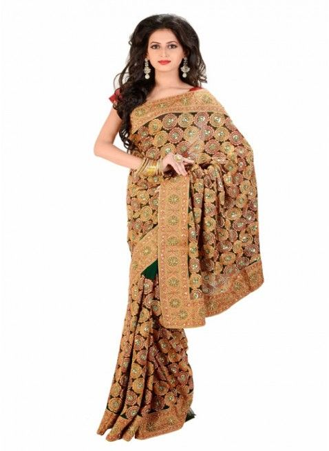 Charming Bottle Green Color Chiffon Based Embroidered #Saree With Resham Work #clothing #fashion #womenwear #womenapparel #ethnicwear