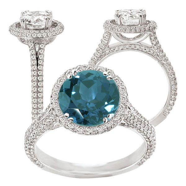 18k lab created 7 5mm round alexandrite engagement ring with natural diamond
