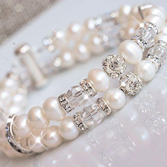 Bridal Cuff Bracelet White Pearl Cuff Bracelet by MARTALILY, £39.00