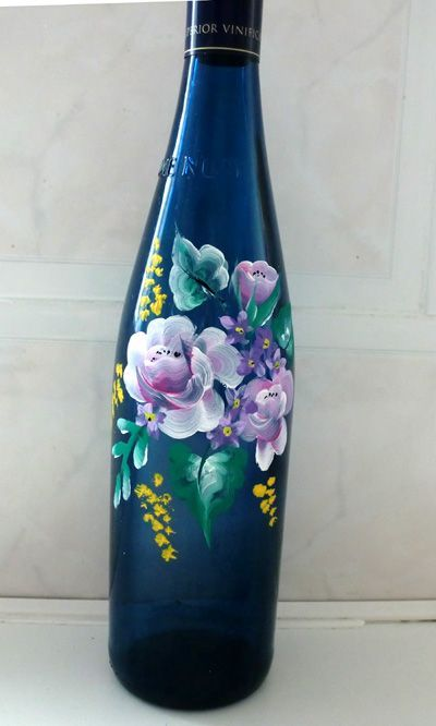 43 best painted bottles images on pinterest painting on for Can acrylic paint be used on glass bottles
