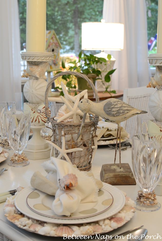 Summer Beach Themed Table Setting with Shell Chargers.  Chargers are a Pottery Barn Knock-off
