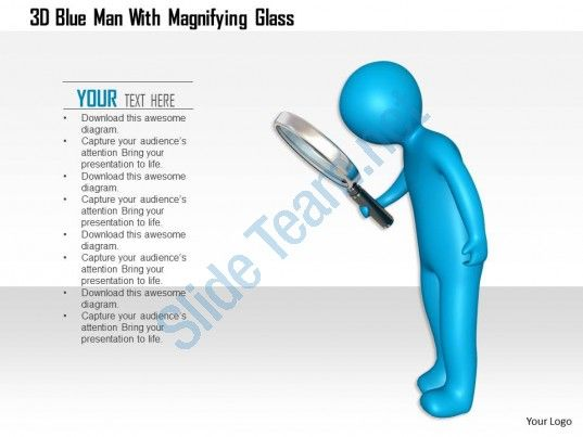 1114 3d blue man with magnifying glass ppt graphics icons Slide01