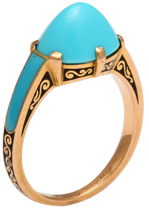 Cartier cabochon turquoise ring set in gold with black enamel, circa 1930. Via @1stdibs.