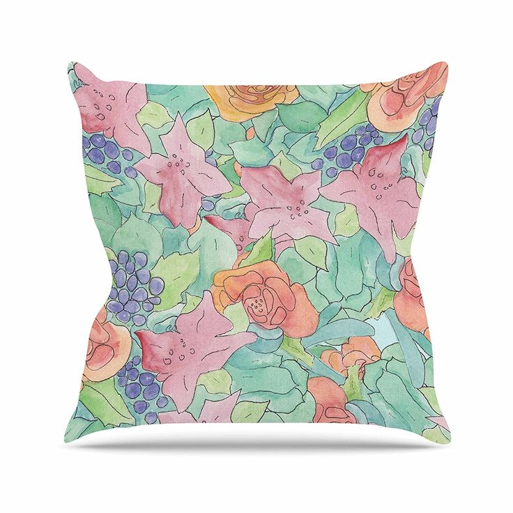 KESS InHouse CH1055AOP03 18 x 18-Inch 'Catherine Holcombe Southwestern Floral Green Purple' Outdoor Throw Cushion - Multi-Colour *** Want to know more, click on the image. #GardenFurnitureandAccessories