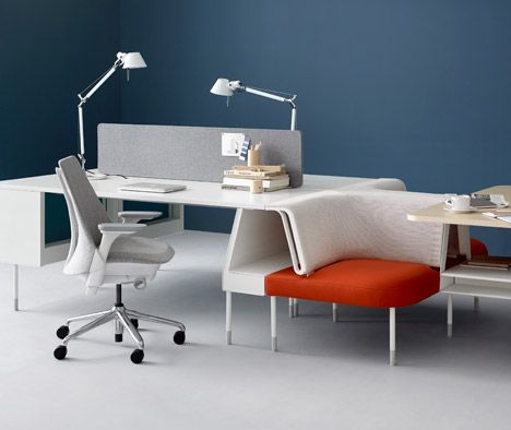 American brand Herman Miller has begun producing the flexible office furniture collections designed by Yves Behar's studio Fuseproject and London company Industrial Facility