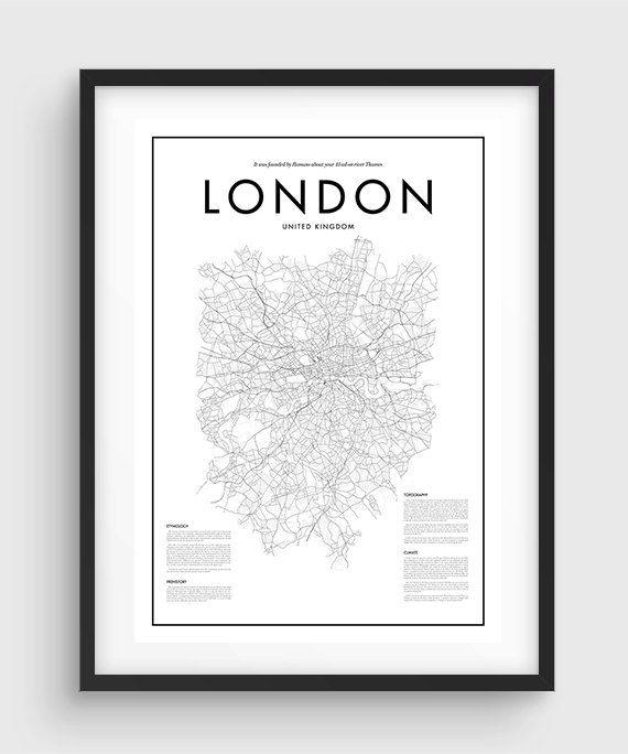 Affiche carte Londres minime, Black & White minime tirage Poster, Art, Accueil Art, carte graphique minimale, Londres affiche, décoration, collection