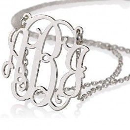 Monogrammed necklace to wear at the reception