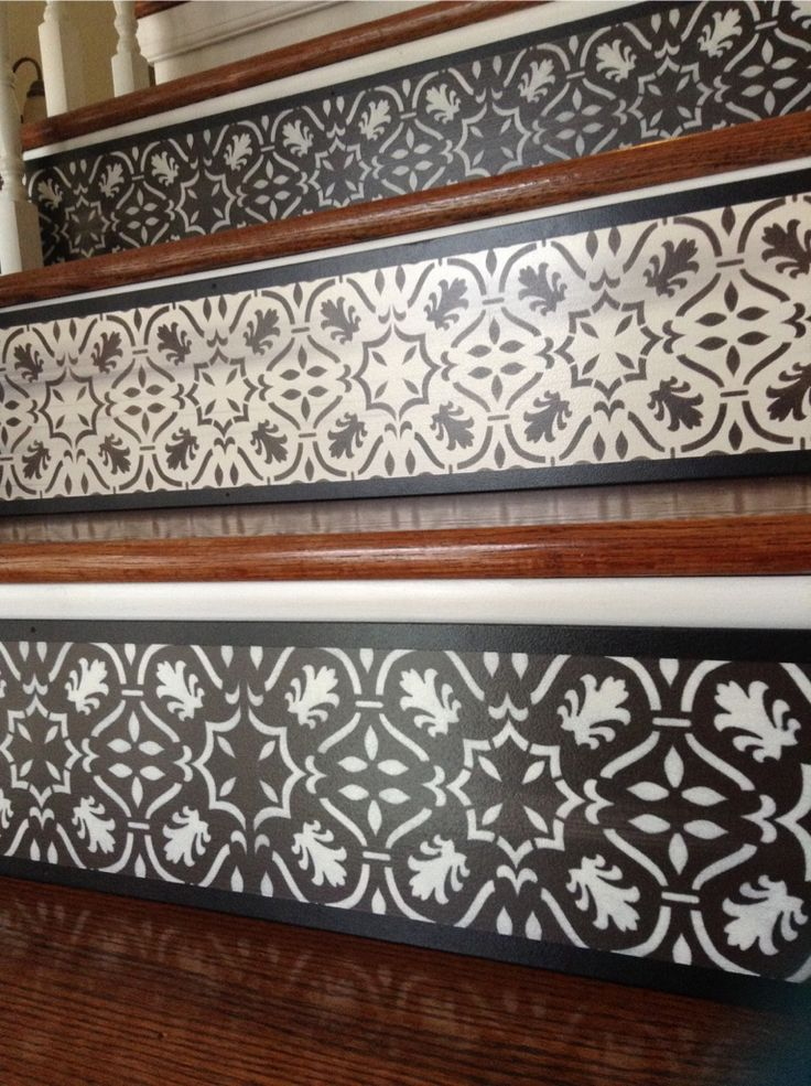 Painted Stairs | Stair Riser Panels | Chocolate U0026 Oyster Color Combo | By  Tribute Designs