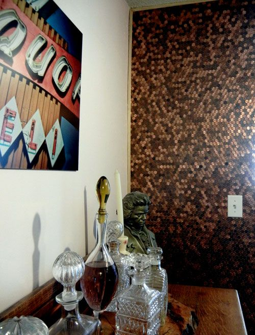 penny wall: Decor, Floor, Penny Wall, Pennies, Kitchen, Bathroom, Diy, Accent Wall, Crafty Ideas