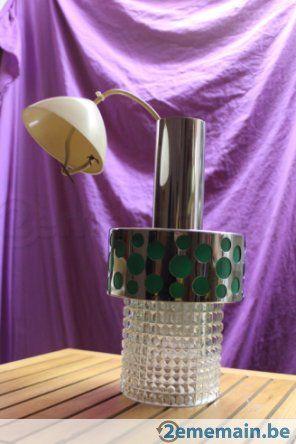 Lustre verre et métal, reflets ronds verts - 70's retro - A vendre