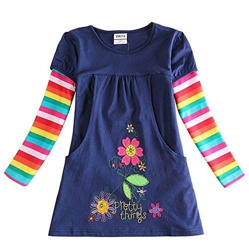 Shop https://goo.gl/P6KHhb   VIKITA Girls Rainbow Stripe Cotton Dress Long Sleeve 2017 NEW For 2-8 Years   Check Store Price https://goo.gl/P6KHhb  #2017 #28 #Cotton #Dress #Girls #Long #Rainbow #Sleeve #Stripe #VIKITA #Years