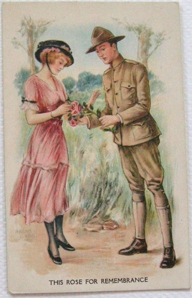 Postcard World War 1 Soldier & Girl Rose for Remembrance Signed Archie Gunn A/S