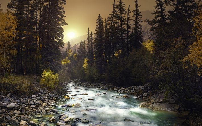 Download wallpapers mountain river, sunset, forest, green trees, mountain landscape