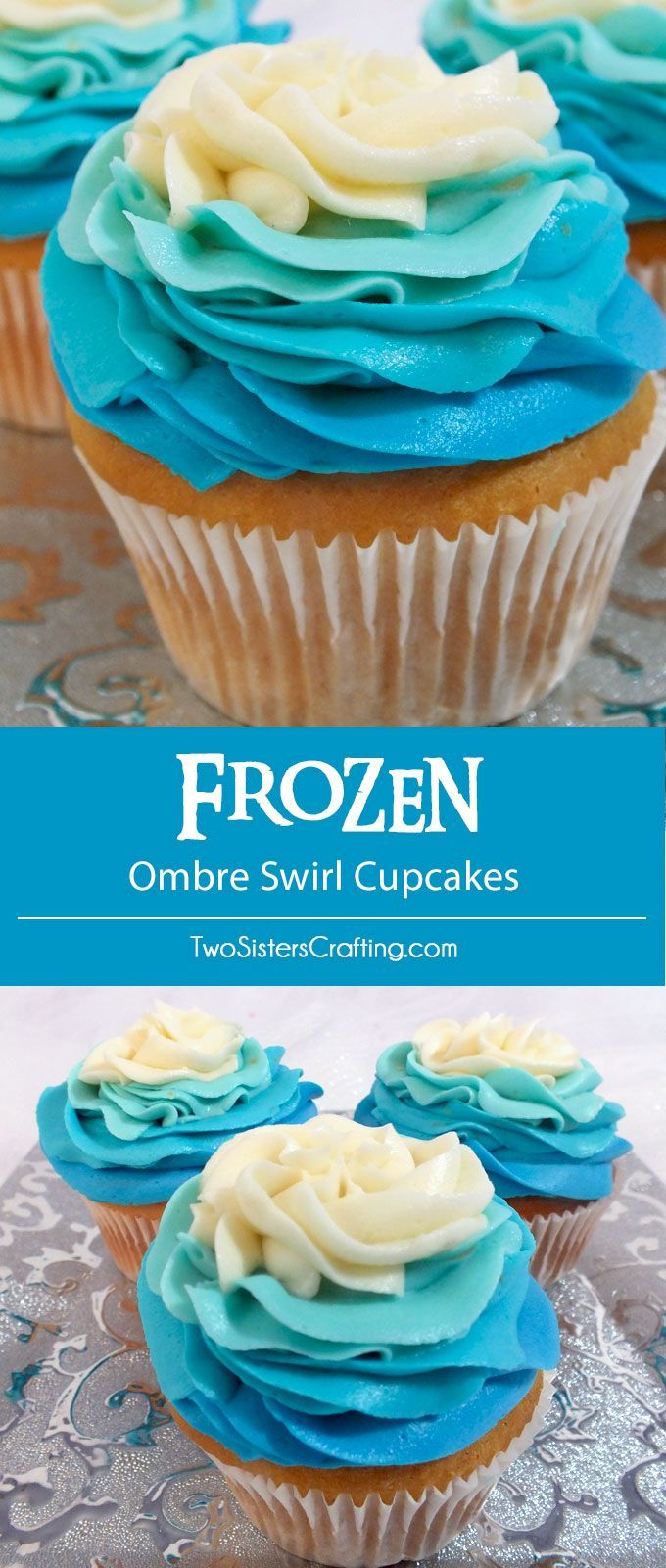 These Frozen Ombre Swirl Cupcakes will be the star of the Dessert Table at your Frozen Birthday party. So gorgeous, so delicious, so easy to make, it is a cupcake fit for an Ice Queen. This special Frozen Party Treat is sure to be a hit with the Frozen fans at your party. Follow us for more great Frozen Party Ideas.
