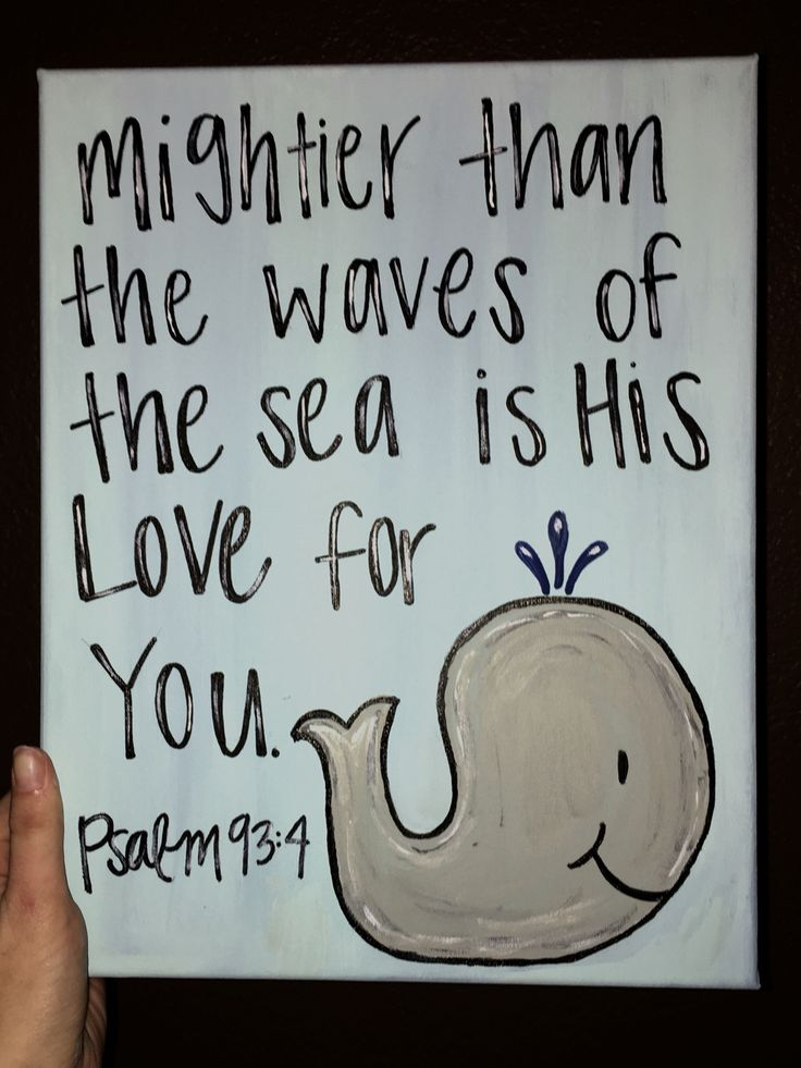 Mightier than the waves of the sea is His love for you! Psalm 93:4 ...little boy room. #baby #boy #canvas #painting