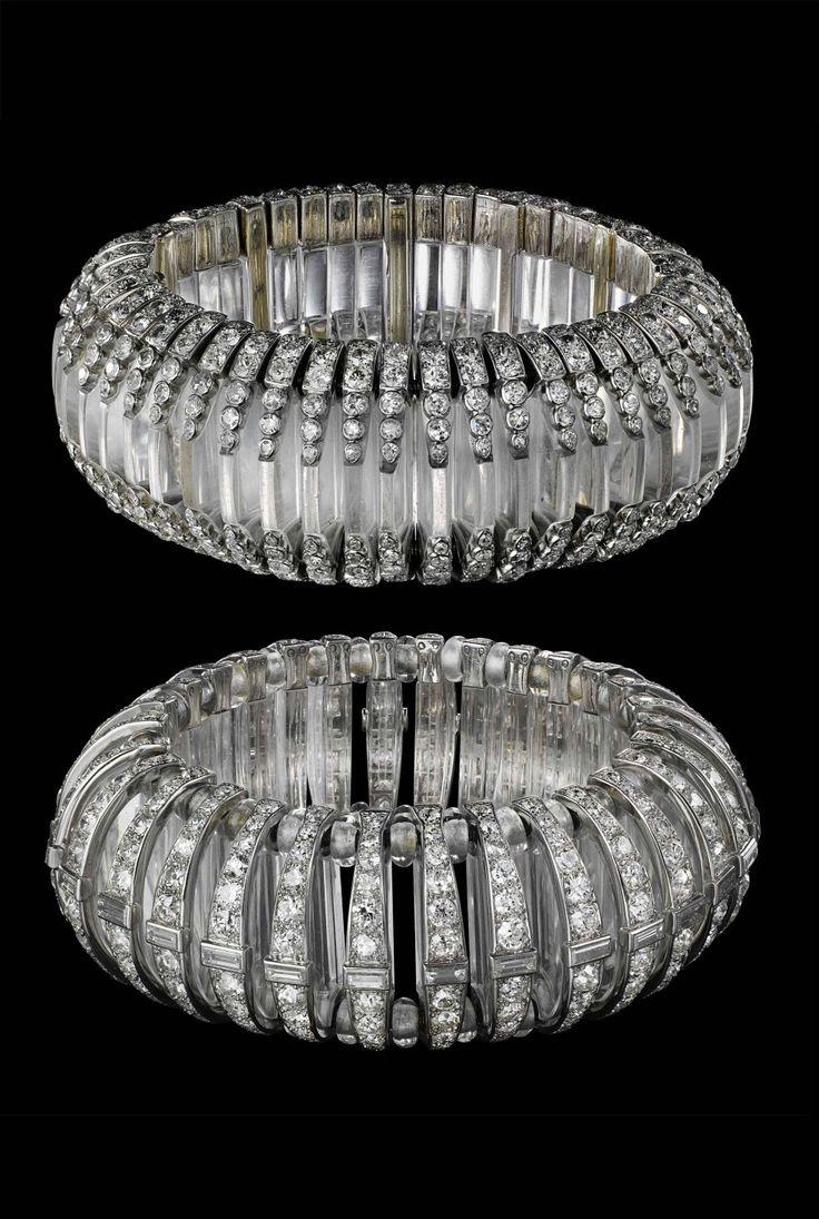 Pair of Platinum, Rock Crystal and Diamond bracelets, Cartier Paris, 1930,  by Gloria Swanson, American actress.