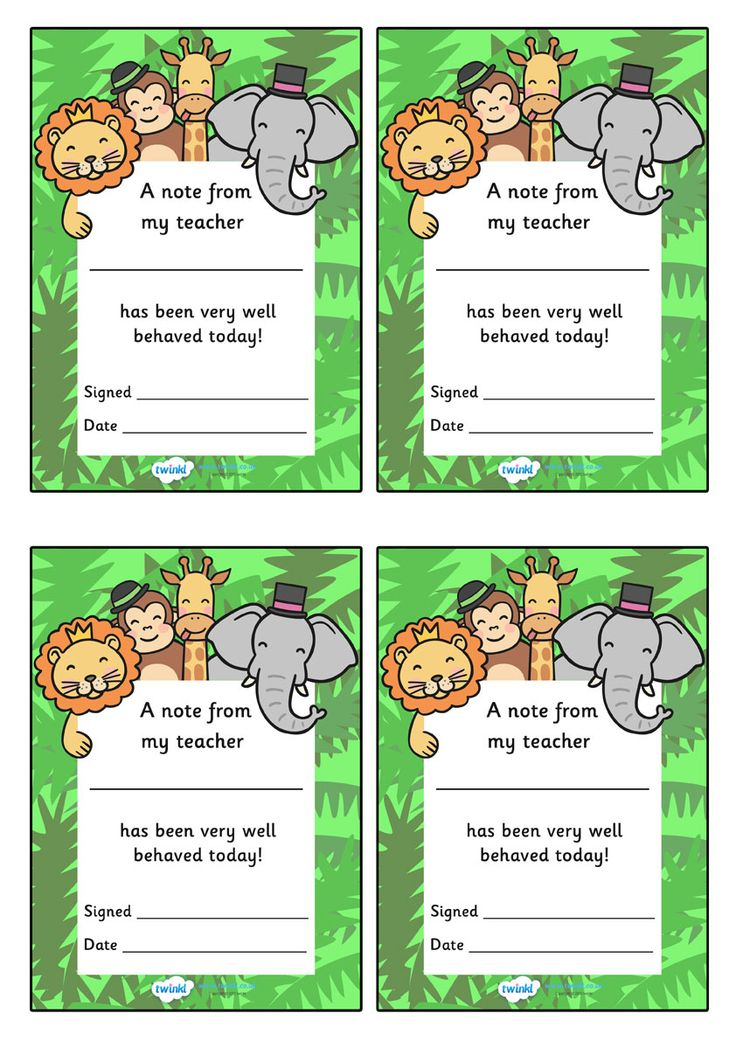 Twinkl Resources >> Note From Teacher Well Behaved Today (Jungle Themed)  >> Classroom printables for Pre-School, Kindergarten, Primary School and beyond! note from teacher, well behaved today, notes, praise, comment, teacher, parent, themed, jungle themed
