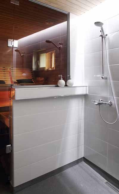 shower / sauna---with side half wall instead of full glass door