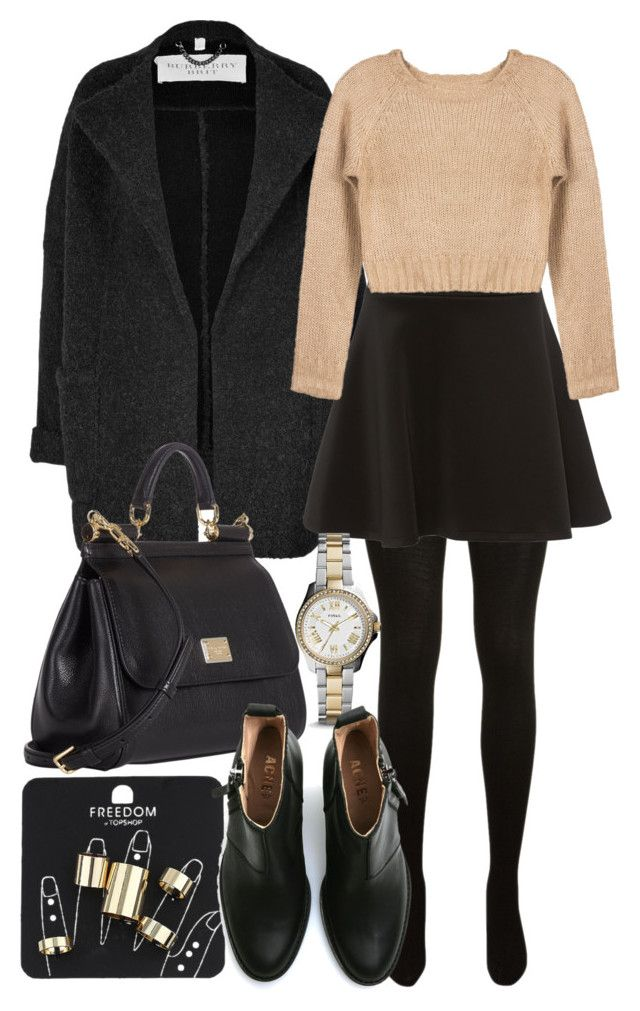 """Style #6566"" by vany-alvarado ❤ liked on Polyvore featuring Burberry, Yves Saint Laurent, Silvian Heach, Dolce&Gabbana, FOSSIL, Topshop and Acne Studios"