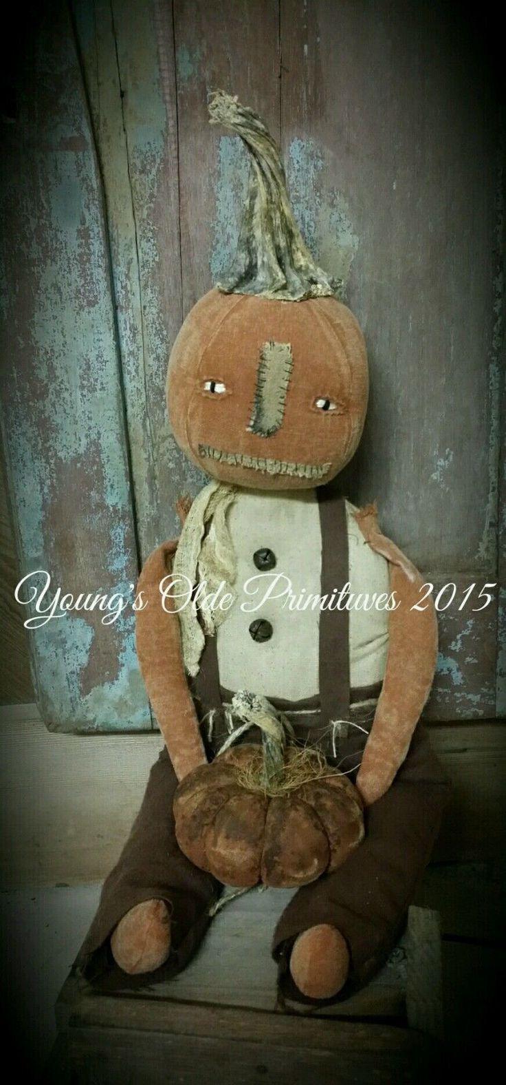 Primitive Pumpkin Doll w Pumpkin Fall Halloween | eBay