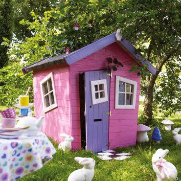 cabane pour enfant peinte en rose cabanes pour enfants pinterest jardin pour enfant. Black Bedroom Furniture Sets. Home Design Ideas
