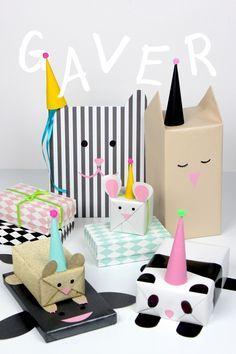Fun animal gift wrapping for kids. |  http://www.blog.bog-ide.dk/bamse-gaveindpakning/