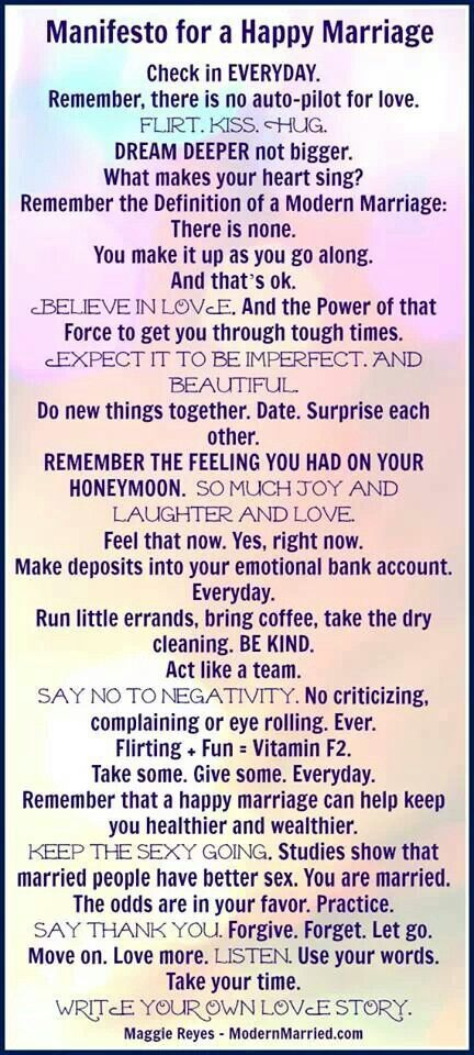 Remember for therapy sessions with clients. Manifesto for A Happy Marriage! And most of these are true for any long-term relationship!