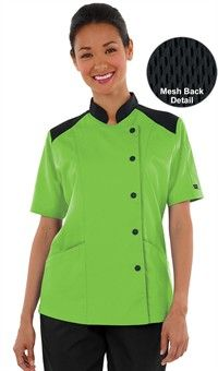 Women's Half Back Mesh Chef Coat - Snap Front Closure - 65/35 Poly/Cotton Fine Line Twill Style # 38717 #chefuniforms #womensclothing #womenschefwear #chef #women #green #black #fashion #style
