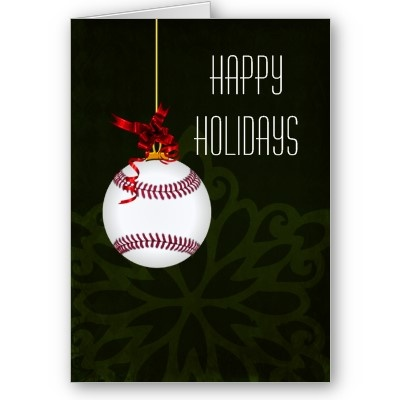 http://www.zazzle.com/xmasmall #Christmas #holiday #softball#baseball #sports greetings #cards #elegant