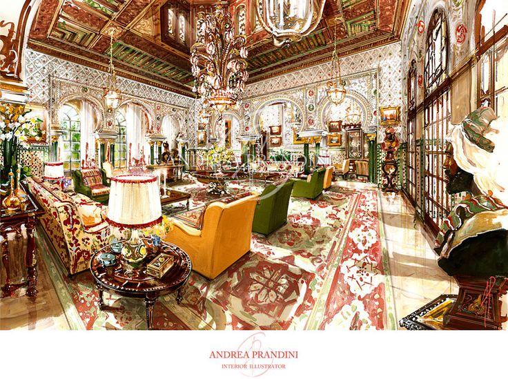 interior illustration and visualization, watercolor illustration, handmade rendering - orientalism - Andrea Prandini