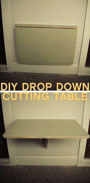 DIY  Cutting Table made from a IKEA  wall mounted drop down table that costs only $29.99, the Norbo. then  just glued a self-healing cutting mat on it