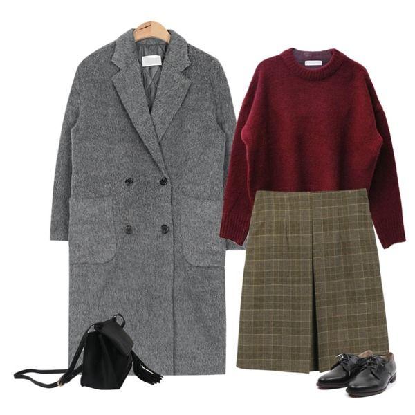 daily monday Front pintuck check skirt,DORA 포근라운드니트,AIN drop shoulder hair double coat (3 colors)등을 매치한 코디