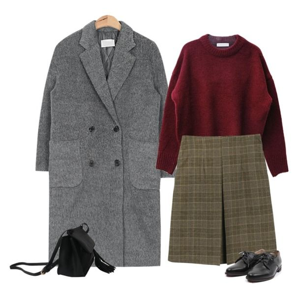 daily monday Front pintuck check skirt,DORA 포근라운드니트,AIN drop shoulder hair double coat (3 colors)등을 매치한 코디