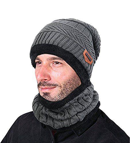 ZZLAY Sombrero de gorro de invierno grueso conjunto de bufanda Gorro de  gorro de punto cálido f4b92b91749