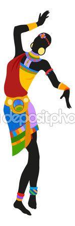 Mujer bailando la danza ritual — Vector de stock #70311799