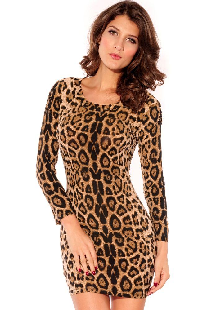 Velvet Crew Neck Leopard Mini Dress Coffee