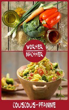 Unsere Pfanne mit Couscous und Gemüse schmeckt entweder als Hauptgericht oder als Beilage und lässt sich auch super mitnehmen und vorbereiten - ideal für die Arbeit! http://eatsmarter.de/rezepte/couscous-gemuese-pfanne
