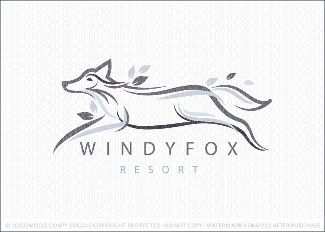 Logo for sale: Soft flowing and airy lines create the impression of a running fox animal. The fox is designed with streaming lines, which create the feeling of the wind blowing as well as the running movement of a fast fox running through the lush forest. Leaf elements are naturally placed throughout the design to add a natural flair to this unique and elegant fox logo.