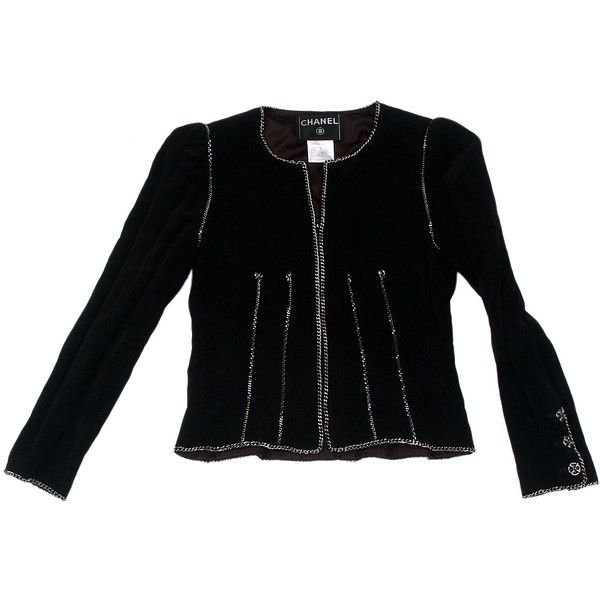 Элитный бархатный пиджак с цепочками, Chanel ❤ liked on Polyvore featuring jackets and chanel