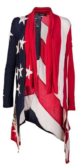 Displaying or performing the nation, as Edensor puts it, has become a production industry. What we put on has a direct relation to how our nation is performed. In America the American flag can be seen everywhere from clothing like this cardigan to tattoos and novelty items.