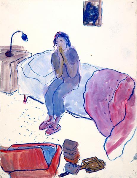 """#Charlotte_Salomon 1917-1943 à Auschwitz, peindre pour lutter contre le désespoir. œuvre autobiographique """"Leben? oder Theater?"""" (Vie ? ou Théâtre ?) ses gouaches montrent sa famille, ses amis, mettent en scène son enfance, jeunesse mais aussi les événements traversés. 1 œuvre complexe qui s'accompagne de textes et musique. Les textes sont simples, truffés de citations de la littérature allemande, elle les intègre dans ses tableaux, un peu comme dans une bande dessinée.( via wikipedia)"""